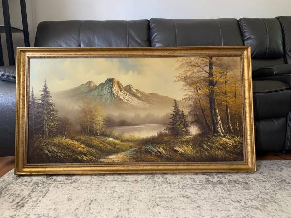 Photo Original Vintage Oil on Canvas Mountain Lake Picture Painting - $300 (MARYSVILLE)