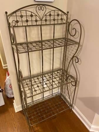 Photo 3 Shelf Metal Folding Bakers Rack Shelves Storage - $65 (Alpharetta)