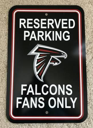 Photo Atlanta Falcons Sign - Plastic - Reserved Parking - 12 in x 18 in New - $5 (Woodstock)
