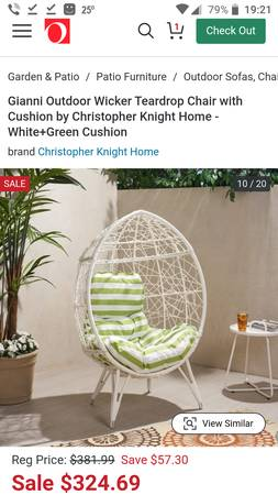 Photo Christopher Knight Home White Wicker Teardrop Chair with Cushion - $290 (Alpharetta)
