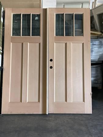 Photo Craftsman 3-Lite Wood Double Exterior Door NEW - $1,000 (Atlanta)