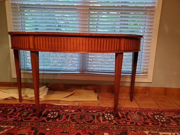 Photo Ethan Allen Newman demilune banded and inlaid console - $525 (Roswell)
