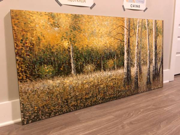 Photo Large, Unframed Pointilist Woods Painting - 55 in x 27.5 in - $100 (Midtown, Atlanta)