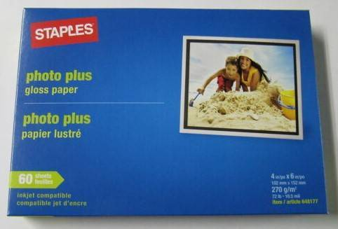 Photo New Photo Plus Gloss Paper, Staples, 4x 6, 60 sheets $5ea. Have 2 (Snellville)