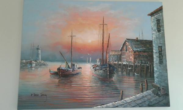 Photo Original Max Savy Lighthouse and Fishing Boat Painting - $230 (Cumming, GA)