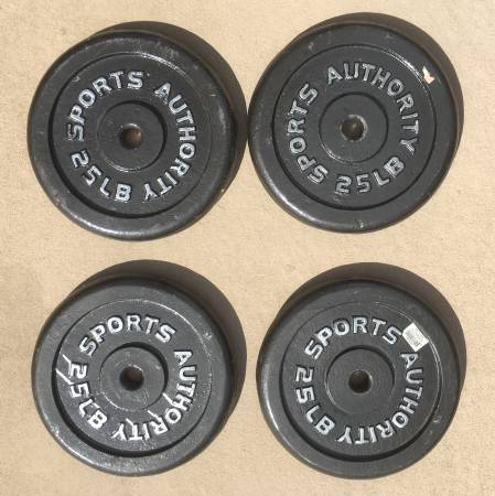 Photo Set of (4) 25-lb Barbell Weight Plates - Sports Authority - $40 (Duluth)