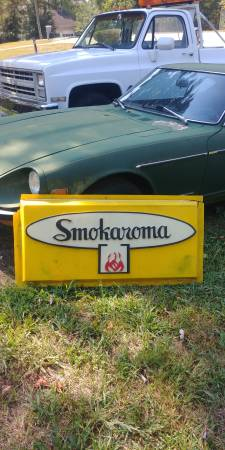 Photo Vintage advertising smokaroma bbq smoker sign - $70 (Stockbridge)