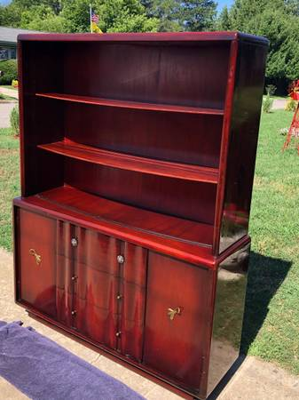 Photo 1950s Retro Hutch Bow Front with Plate Cuts  Sliding Glass Doors - $125 (North Augusta)
