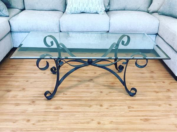 Photo Ashley Furniture Glass Coffee Table  Side Tables Set - $500 (Evans)
