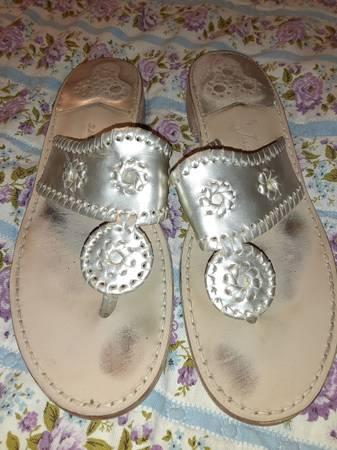 Photo Jack Roger39s Leather Whipstitch GoldPlatinum Sandals Size 10 - $30 (Hephzibah)