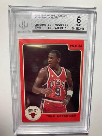 Photo 1986 Michael Jordan basketball rookie card BGS 6 - $1,090 (Austin)