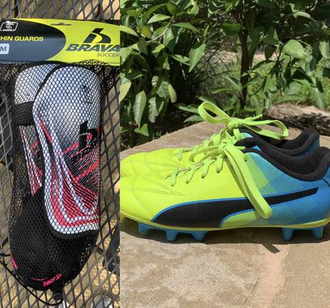 Photo Bundle of Soccer Cleats and Shin Guards - $35 (Far West BlvdNW Hills)