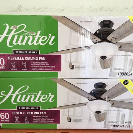 Photo HUNTER Reveille 60 in. LED Indoor Noble Bronze Ceiling Fan with Light - $100 (NW Austin)