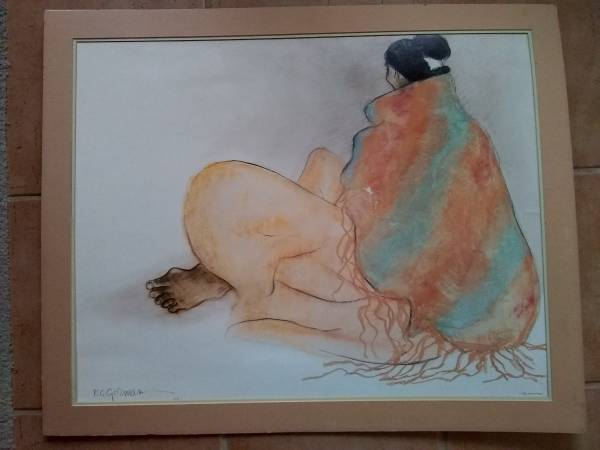 Photo Large R C Gorman Print - Native American Woman Sitting Lithograph 1977 - $25 (Parmer and Metric)