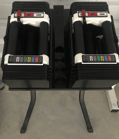 Photo PowerBlock dumbbells w stand - $600 (Austin)