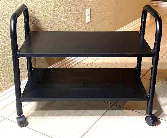 Photo Sturdy Metal Frame Solid Wood Rolling SIDE TABLE CART 2-Shelf Black - $30 (Northwest Austin)