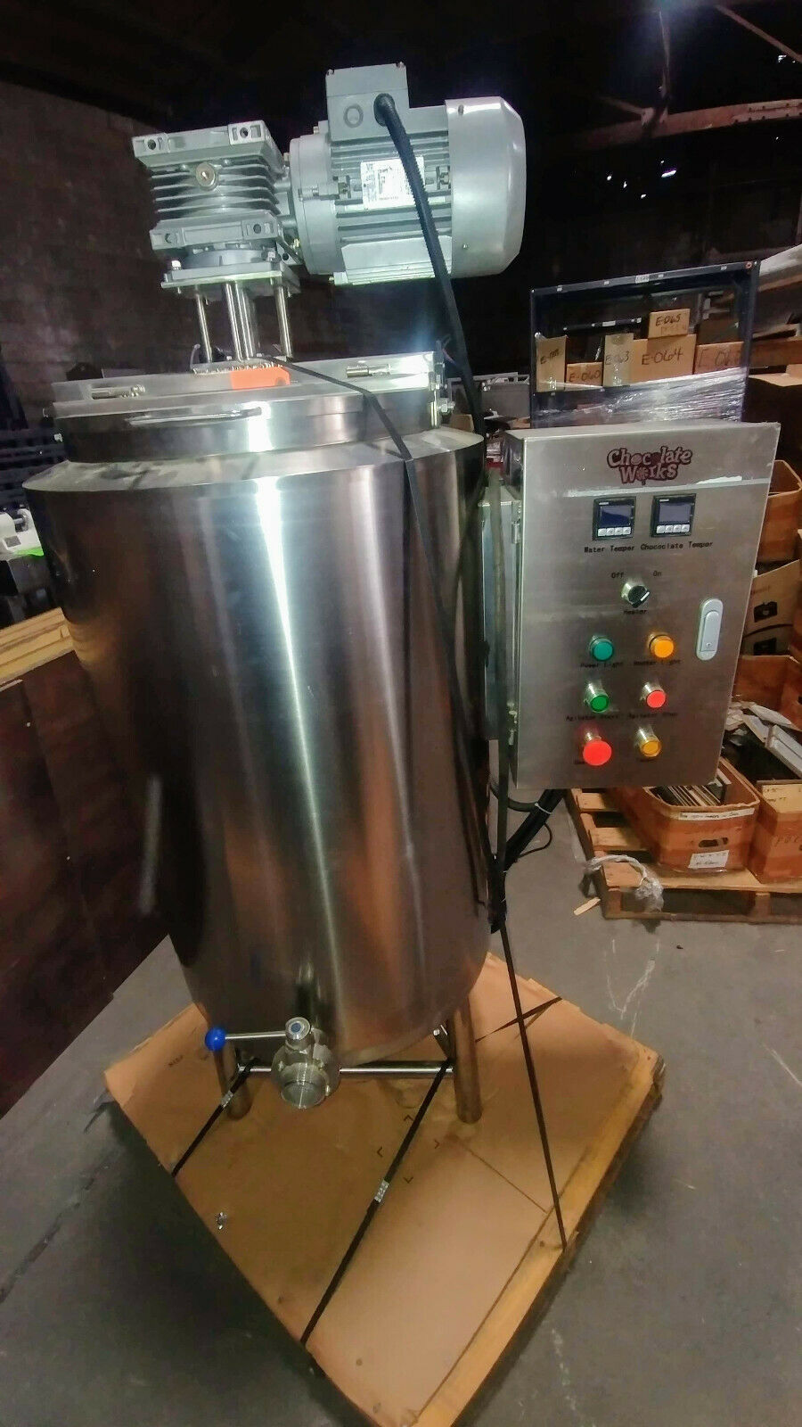 Photo Chocolate Works Chocolate Auto Tempering Melter 250 LB Capacity Stainless Steel
