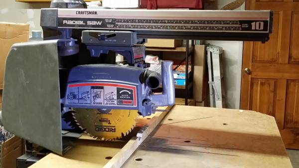 Photo Craftsman 10quot Radial Arm Saw with Rolling Cabinet Base - $150 (Lake Isabella  Bakersfield  Kernville)