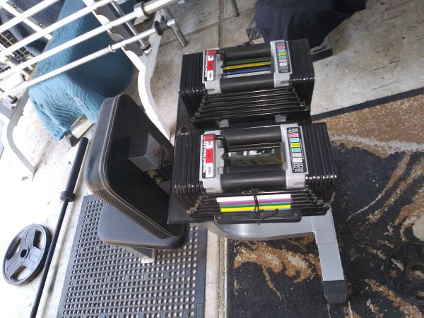 Photo PowerBlock dumbbells with bench and stand - $249 (Bakersfield)