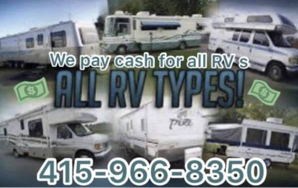 Photo Wanted RV motorhome 5th wheel travel trailer toy hauler diesel pusher (Anywhere we come to you, cash paid, we tow away)