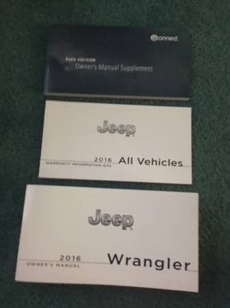 Photo 2016 Jeep Wrangler Owner39s, UConnect and Warranty Manuals - $20 (Abingdon, MD)