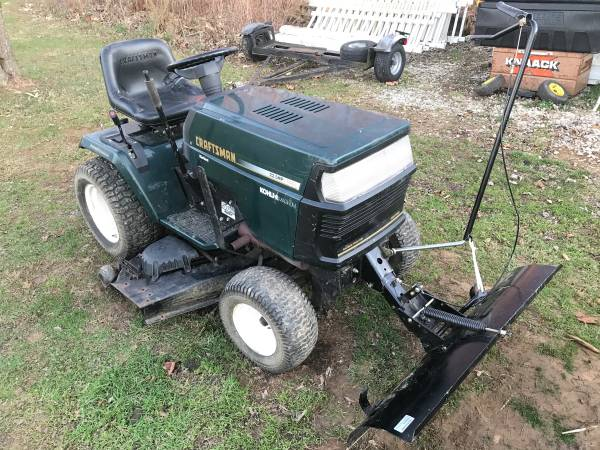 Photo Craftsman Riding Mower With Plow and 50 Inch Deck (Runs Great) - $400 (Weatminster)