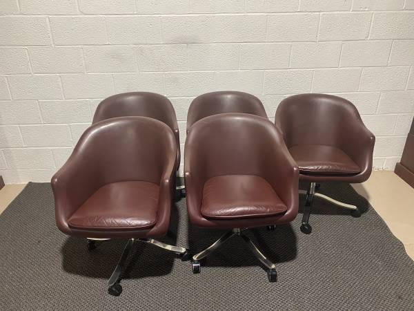Photo Desk Chair by Nicos Zographos, Leather and Stainless Steel Base -EACH - $400 (Cockeysville)