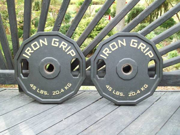 Photo IRON GRIP OLYMPIC urethane 45s WEIGHTS GYM EQUIPMENT - $150 (abingdon)