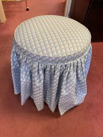 Photo Pretty Little Blue  White Footstool - $30