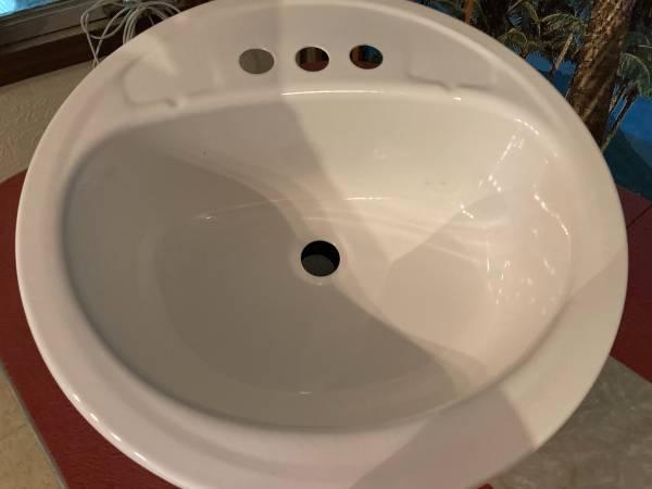 Photo Steel Bathroom Sink, Round, White, 19 Inch - $30 (Perryville)