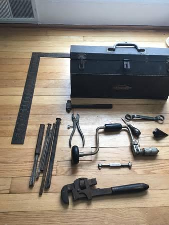 Photo Vintage Craftsman Tool Box with Vintage Tools - $50 (Pikesville)