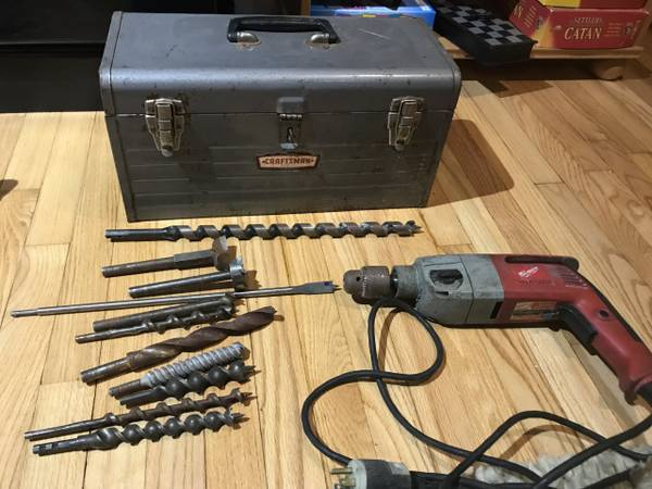 Photo Vintage Craftsman Toolbox with 12 inch Milwaukee Hammer Drill and Bi - $50 (Pikesville)