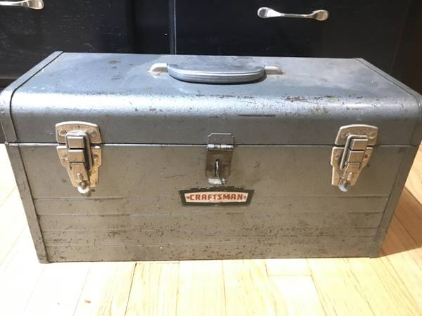 Photo Vintage Craftsman Toolbox with Vintage Tools (Plane, hand drill, files - $40 (Pikesville)