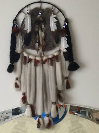 Photo Vintage Native American Indian Handmade Craft Dream Catcher Fur Pelt F - $99 (Pikesville)