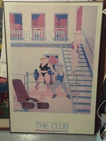 Photo Vintage framed 1985 art poster THE CLUB - $125 (Baltimore)