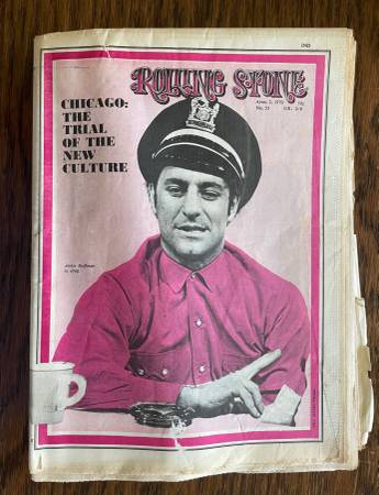 Photo April 2, 1970 Rolling Stone mag. Chicago Seven Abbie Hoffman cover - $30 (near Grass Lake)