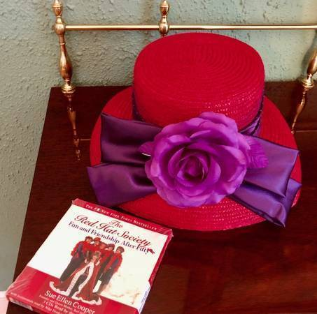 Photo NEW - Red Hat Society Hat and 3-CD Audio Book - $10 (East Grand Rapids)
