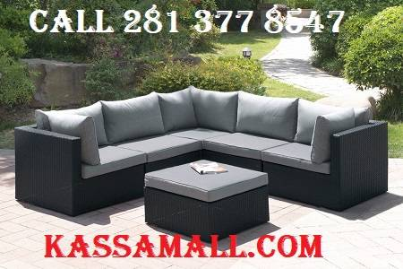 Photo 6Pc outdoor patio sofa set in dark brown resin wicker finish and grey - $979 (houston)
