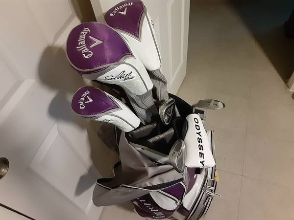 Photo Callaway Solaire 8-Way Ladies Cart Bag. MagentaGreyWhite. Pre-Owned - $149 (I-45 North Freeway At Crosstimber)