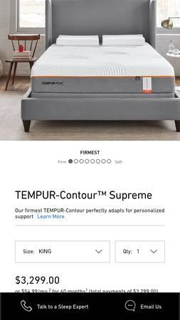Photo King Tempur-Pedic Contour Supreme firm mattress - $1,399 (Add King Adjustable Base $799 extra ( no massage))