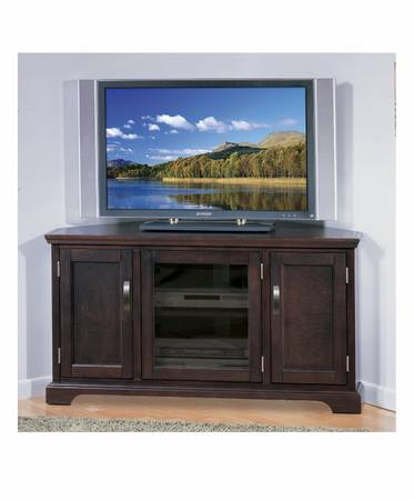 Photo Leick Home Riley Holliday 46quot Corner TV Stand, Chocolate Cherry 2858 - $175 (Houston)
