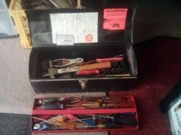 Photo Tool box with many hand tools - $60 (Houston)