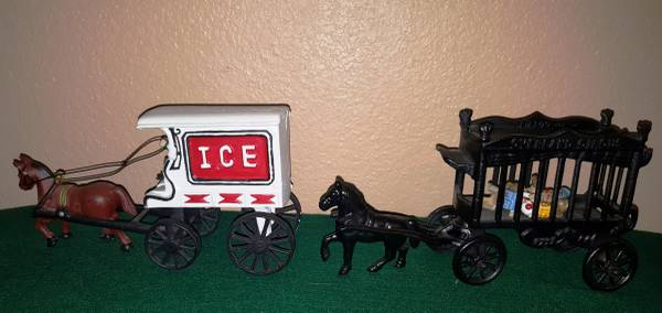 Photo Two Cast Iron Wagon with horses - $75 (NW Cy Fair)