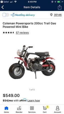 Photo Coleman 200cc Mini Bike - $400 (Springville)