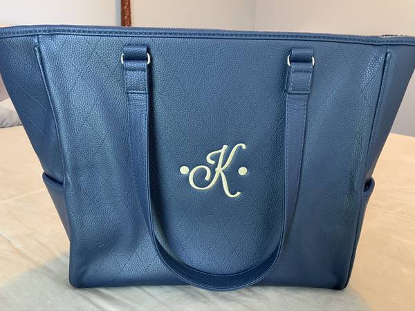 Photo Large tote bag for women in midnight navy diamond pebble faux leather - $60
