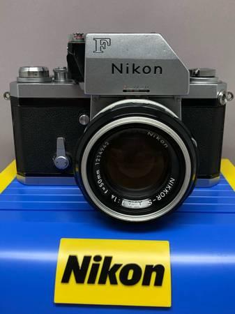 Photo VERY NICE Nikon F wPhotomic Finder  RARE Nikkor S 50mm f1.4 Lens - $329 (Greystone)