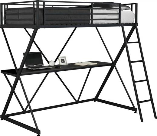 Photo Free Black Twin Loft Bed with Desk Underneath (Endwell)