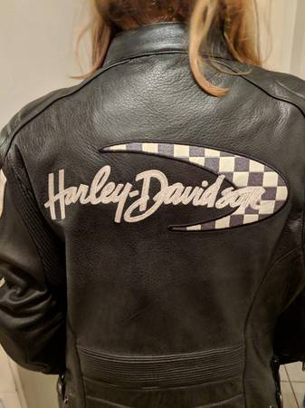 Photo Harley Davidson off white Road Course leather jacket warmor xl womens - $260 (Binghamton)