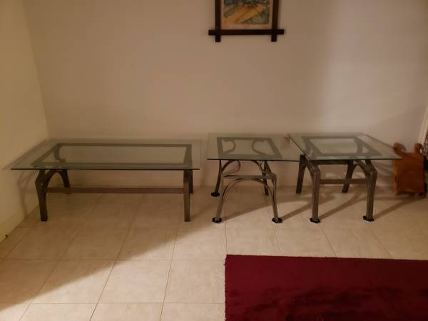 Photo NEW Contemporary 3 Piece Coffee Table  End Table Set Glass  Metal - $200 (Binghamton)