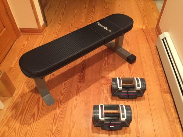 Photo PowerBlock Sport Adjustable Dumbbells and Travel Bench - $200 (Binghamton, NY)